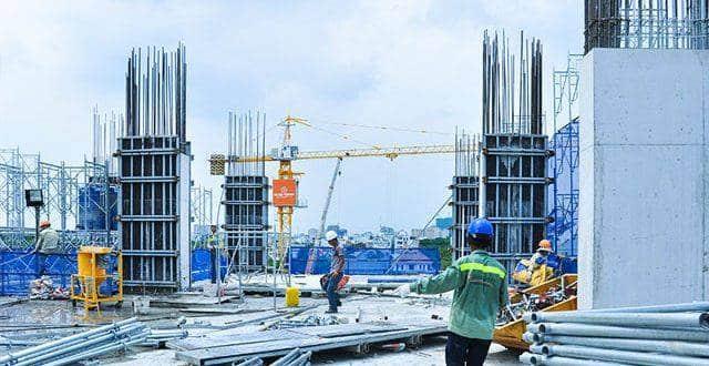 Thi công cột sàn tầng 2 - block Central chung cu Saigon Mia