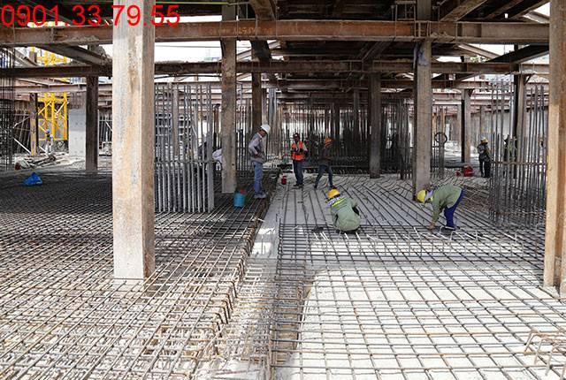Thi công cốt thép 50% còn lại sàn tầng hầm B2 block A, B Moonlight Residence Hưng Thịnh