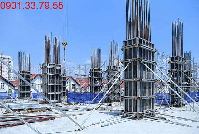 Thi công cột sàn tầng 4 - block Southern căn hộ chung cư Sài Gòn Mia