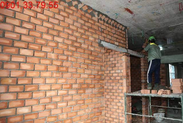 Thi công tường bao căn hộ đến tầng 12 - Block B căn hộ Florita HimLam