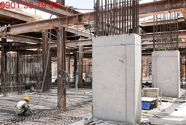 Thi công cột sàn tầng hầm B1 block A, B căn hộ chung cư Moonlight Residences