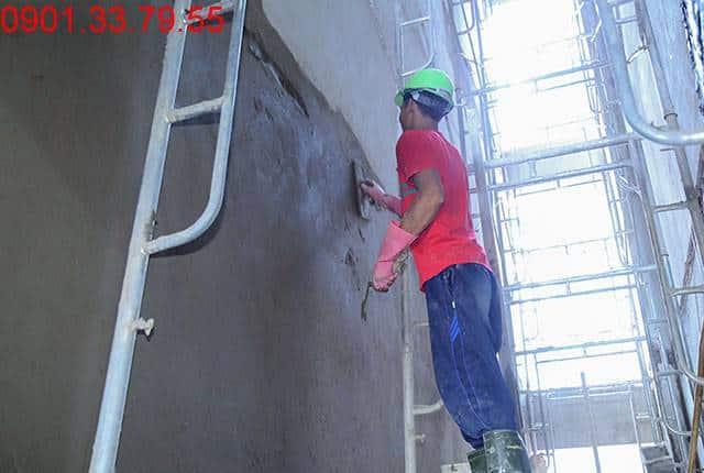 Thi công tô tường bao căn hộ đến tầng 7 - Block B dự án Florita HimLam