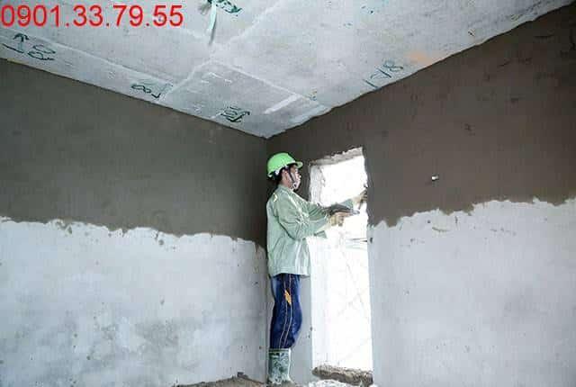 Tiếp tục thi công tô tường bao căn hộ từ tầng 5 đến tầng 11 - Block B can ho Florita Himlam