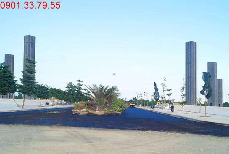 Công tác thi công thảm nhựa đường N2 dự án đất nền Golden Bay Hưng Thịnh