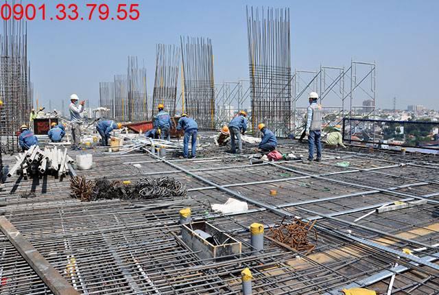 Thi công cốt thép sàn tầng 9 - Block C dự án 9 View hưng Thịnh