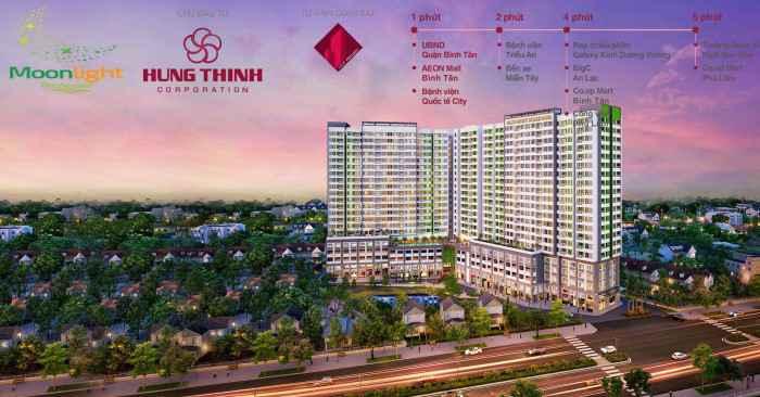 Dòng căn hộ giá rẻ Moonlight Boulevard của Hưng Thịnh Corp được tung ra vào đầu quý 1/2017 tại đường Kinh Dương Vương quận Bình Tân với mức giá chỉ từ 1,1 tỷ/căn 2 phòng ngủ, 2 WC