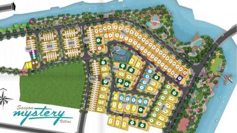Phối cảnh tổng thể dự án Saigon Mystery Villas bao gồm khu căn hộ chung cư và khu nhà phố biệt thự Mystery Villas Saigon.