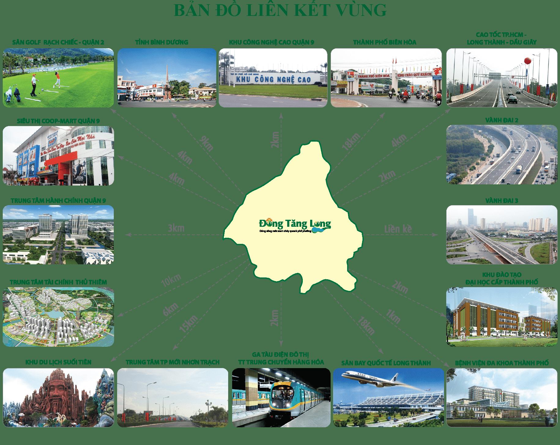 bản đồ liên kết vùng của khu Đông Tăng Long