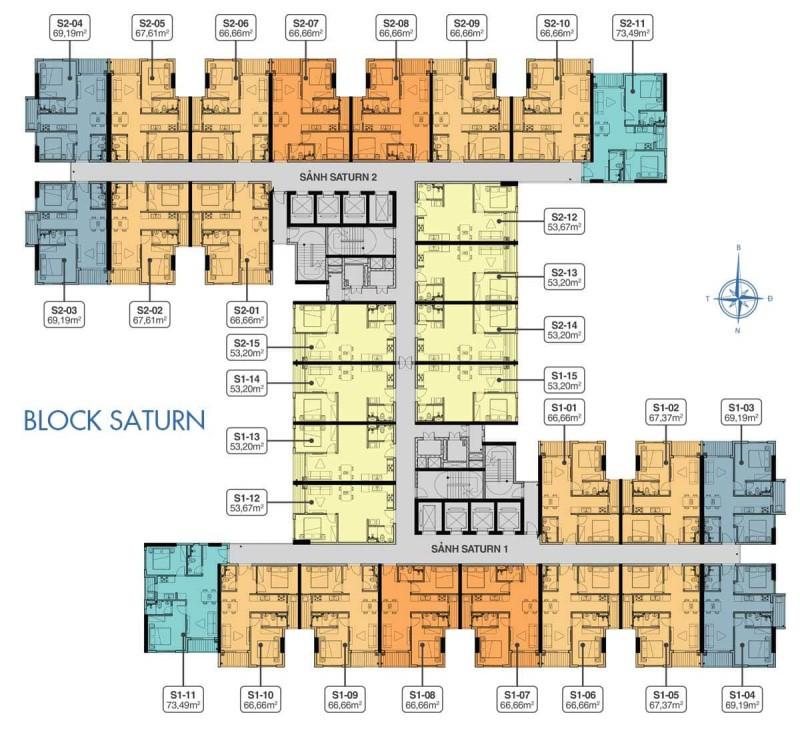 Mặt bằng căn hộ điển hình Block Saturn dự án Universe Complex Tên Lửa