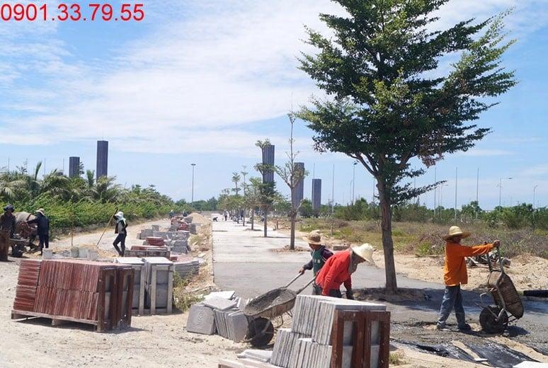 Công tác thi công lát gạch vỉa hè đường N2 - khu D17 Golden Bay