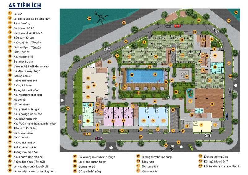 Hơn 45 tiện ích nằm gọn trong Fresca Riverside Thủ đức.