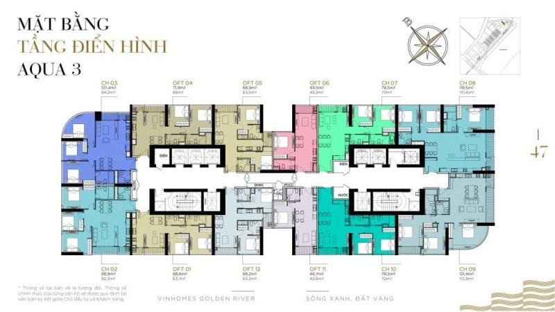 Mặt bằng căn hộ Aqua 3 dự án Vinhomes Golden River