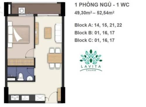 Thiết kế căn hộ Florita Charm 1 phòng ngủ 49-52m2