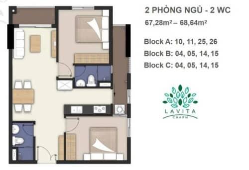 Thiết kế căn hộ Florita Charm 2 phòng ngủ 67-68m2