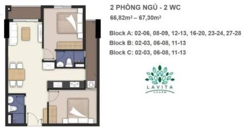 Thiết kế căn hộ Florita Charm 2 phòng ngủ 66m2