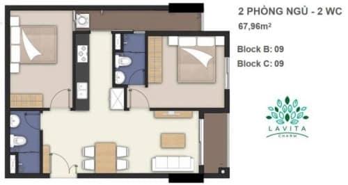 Thiết kế căn hộ Florita Charm 2 phòng ngủ 67m2