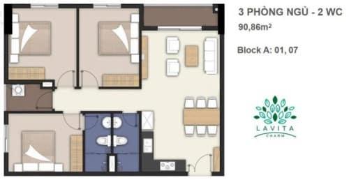 Thiết kế căn hộ Florita Charm 3 phòng ngủ 90,86m2