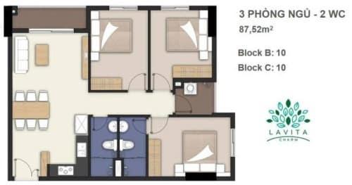 Thiết kế căn hộ Florita Charm 3 phòng ngủ 87m2