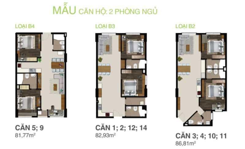 Chi tiết thiết kế căn hộ Citizen cho thuê 2 phòng ngủ