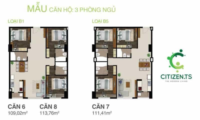 Chi tiết thiết kế căn hộ Citizen cho thuê 3 phòng ngủ