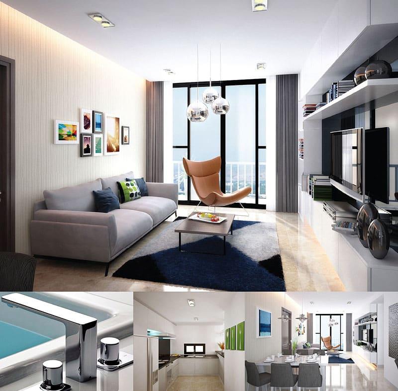 Mẫu căn hộ Sky Center cho thuê