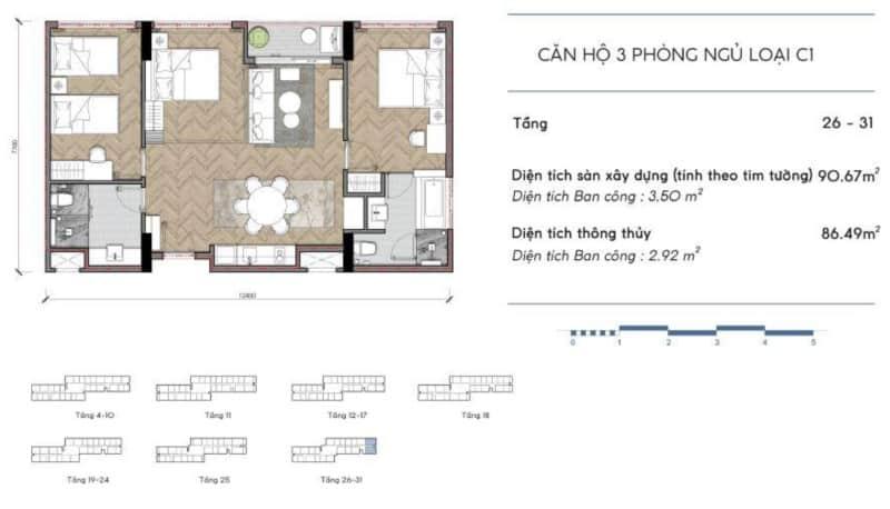 Thiêt kế căn hộ Codotel Coco Wonderland 3 phòng ngủ loại C1