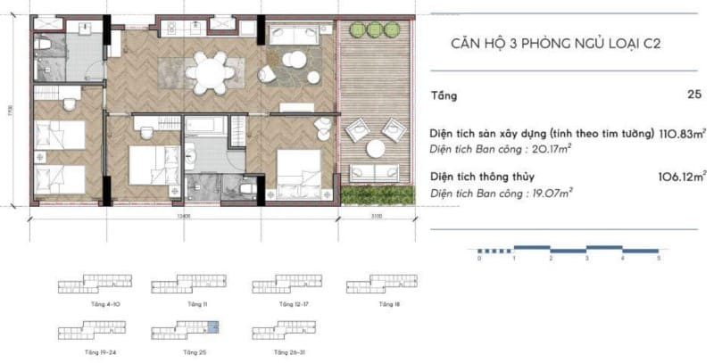 Thiêt kế căn hộ Codotel Coco Wonderland 3 phòng ngủ loại C2