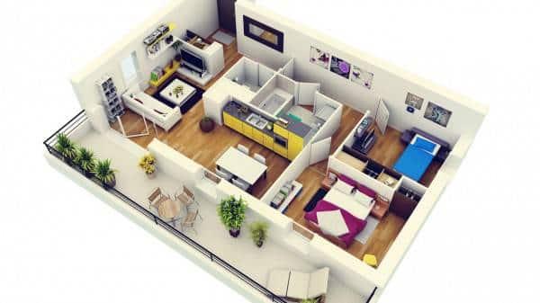 Thiết kế căn hộ Fresca 2 phòng ngủ