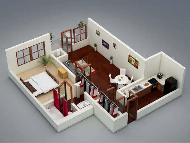 Thiết kế căn hộ Fresca 1 phòng ngủ