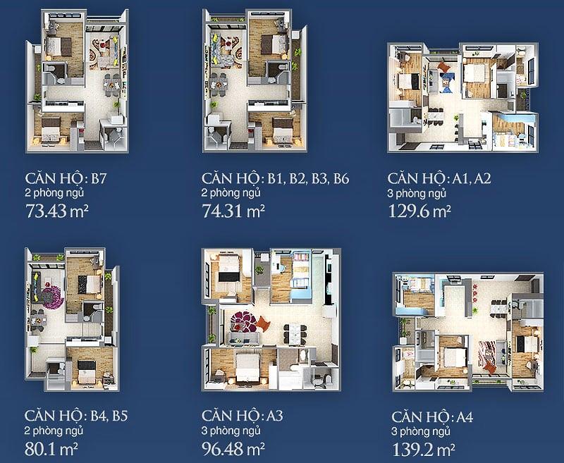 Chi tiết thiết kế các laoị căn hộ Sky Center cho thuê