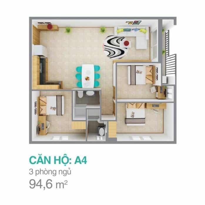 Mặt bằng căn hộ Melody Residences cho thuê 3 phòng ngủ