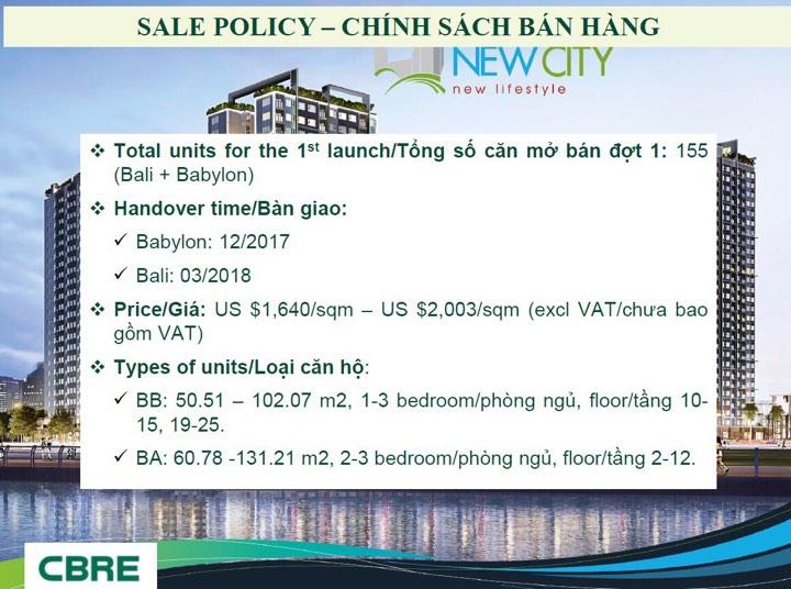 chính sách bán hàng dự án newcity
