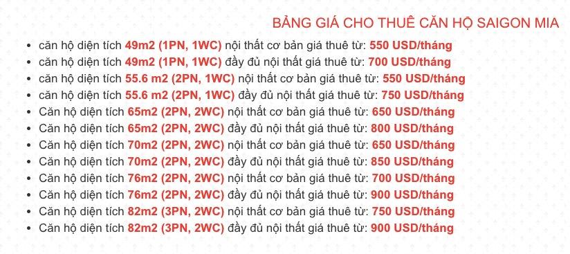 Giá thuê căn hộ Saigon Mia bằng USD