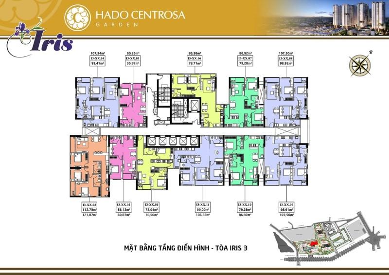 mặt bằng căn hộ hado centrosa garden