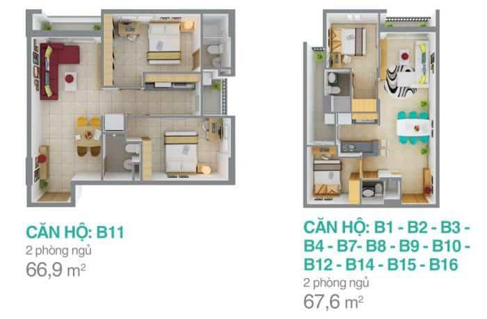 Mặt bằng căn hộ Melody Residences cho thuê 2 phòng ngủ