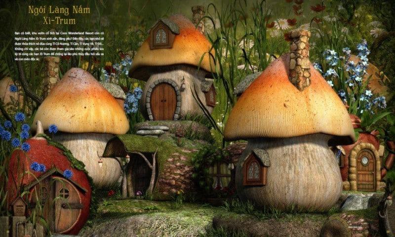 Ngôi làng Nấm Xì – Trum tại Coco Wonderland Resort