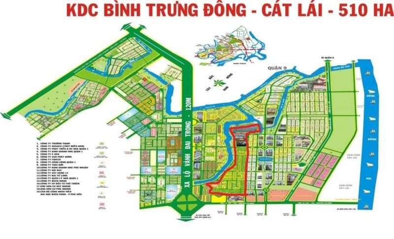 Bản đồ quy hoạch KHD Bình Trưng Đông phường Cát Lái quận 2 - Phố Đông Village bao quanh bởi dòng sông xanh mát