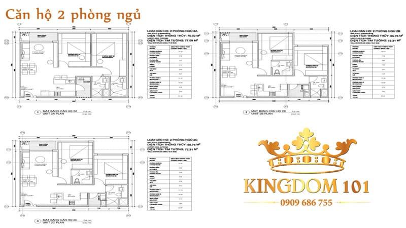 Căn hộ Kingdom 2 phòng ngủ