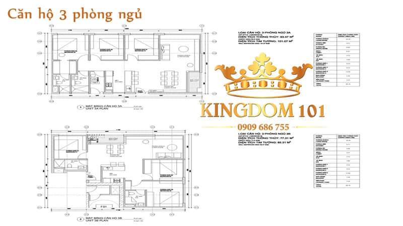 Căn hộ Kingdom 3 phòng ngủ