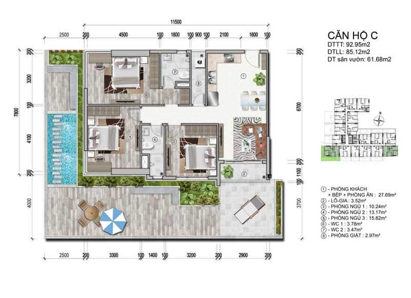 Mặt bằng căn hộ Ventosa Tân Thành