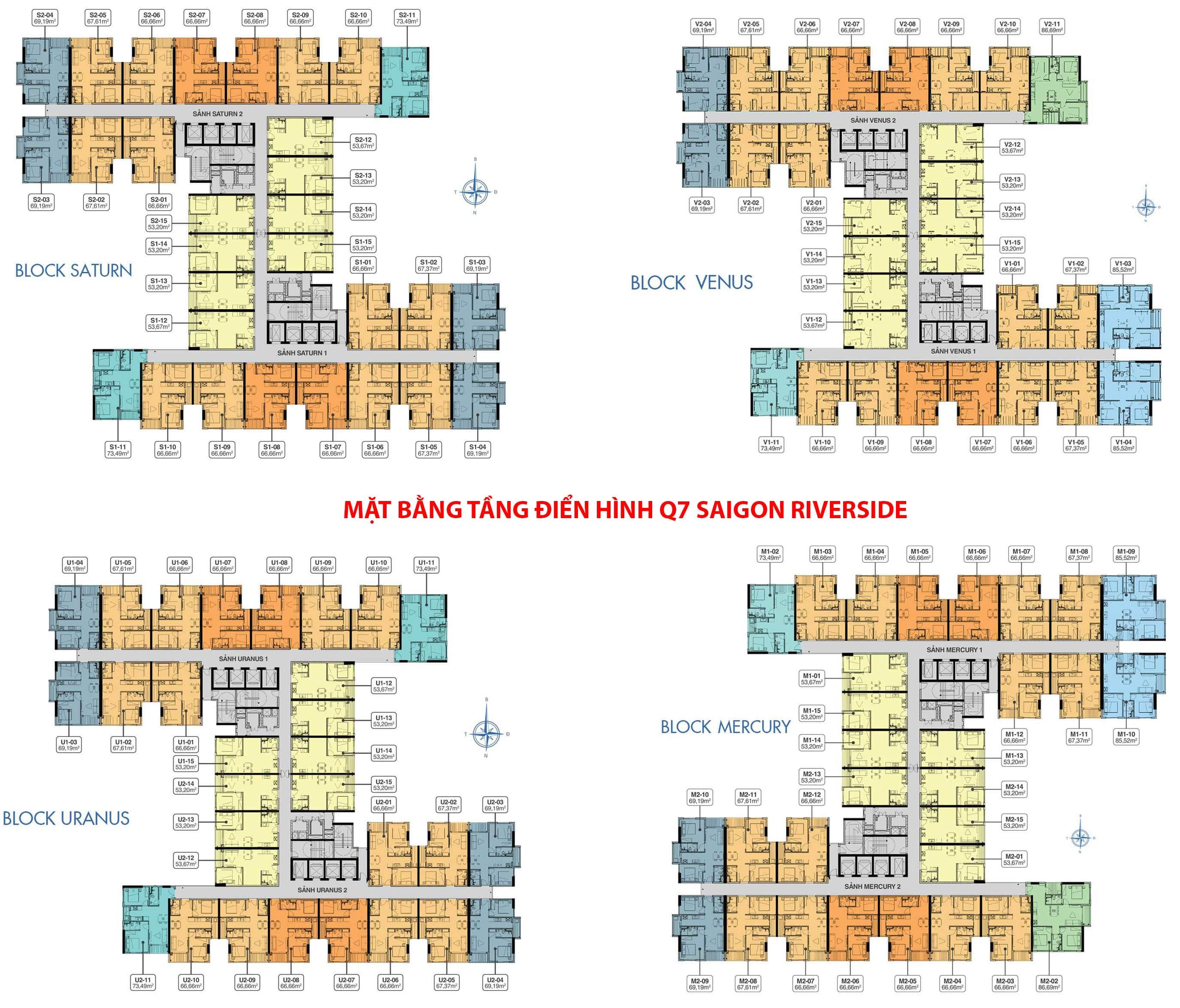 Mặt bằng tầng điển hình tổng thể 4 block Q7 Saigon Riverside