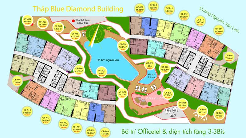 Mặt bằng căn hộ Blue Diamond