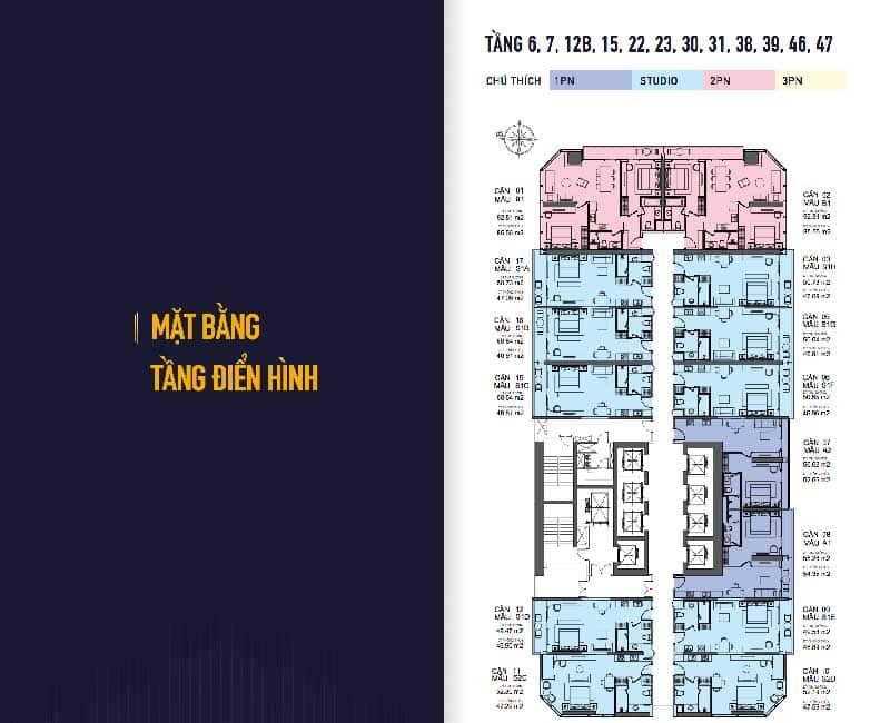 Mặt bằng căn hộ Condotel Twin Tower