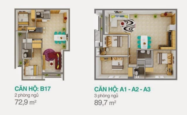 Mẫu thiết kế căn hộ 3 phòng ngủ Melody âu Cơ cho thuê