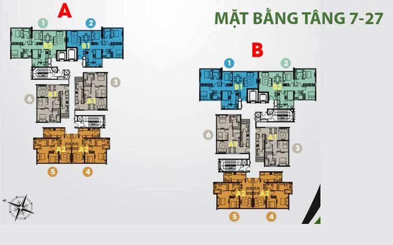 Mặt bằng căn hộ Acsent Thảo Điền 3 phòng ngủ
