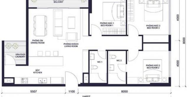 Mặt bằng căn hộ millennium 3 phòng ngủ