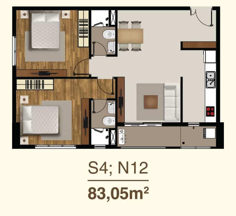 Thiết kế căn hộ 2 Phòng ngủ mã căn S4, N12