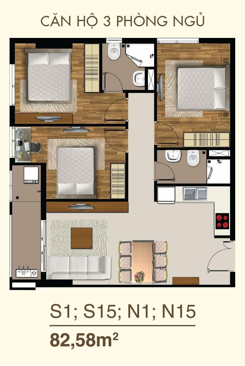 Thiết kế căn hộ 2 Phòng ngủ mã căn S1, S15, N1, N15
