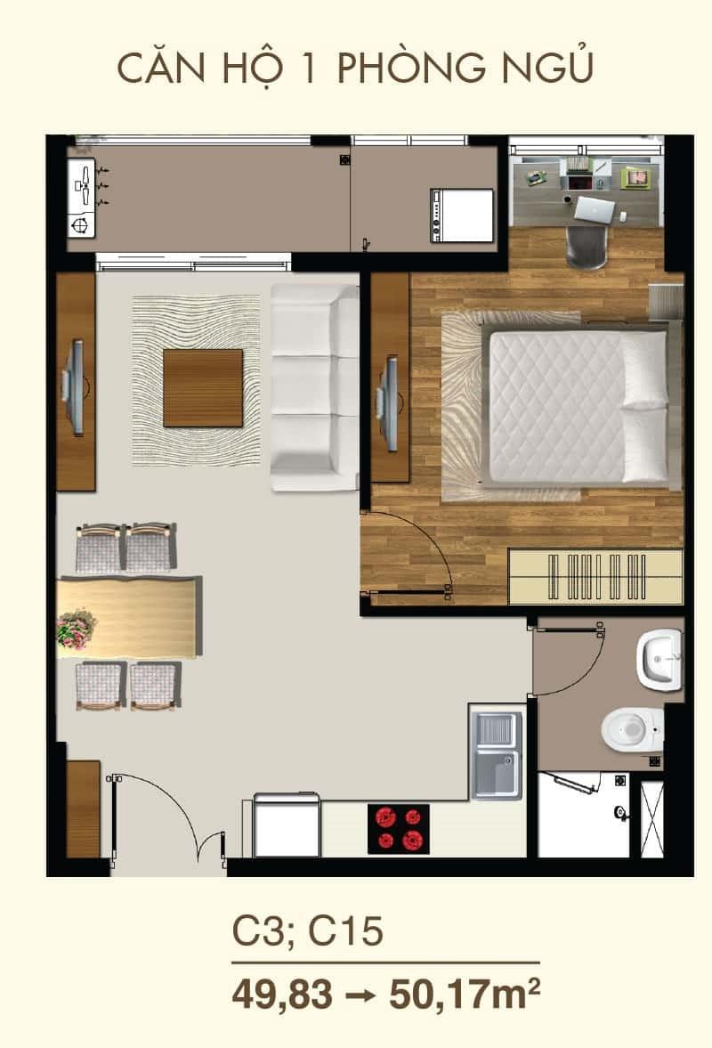 Thiết kế căn hộ 1 Phòng ngủ mã căn C3, C15