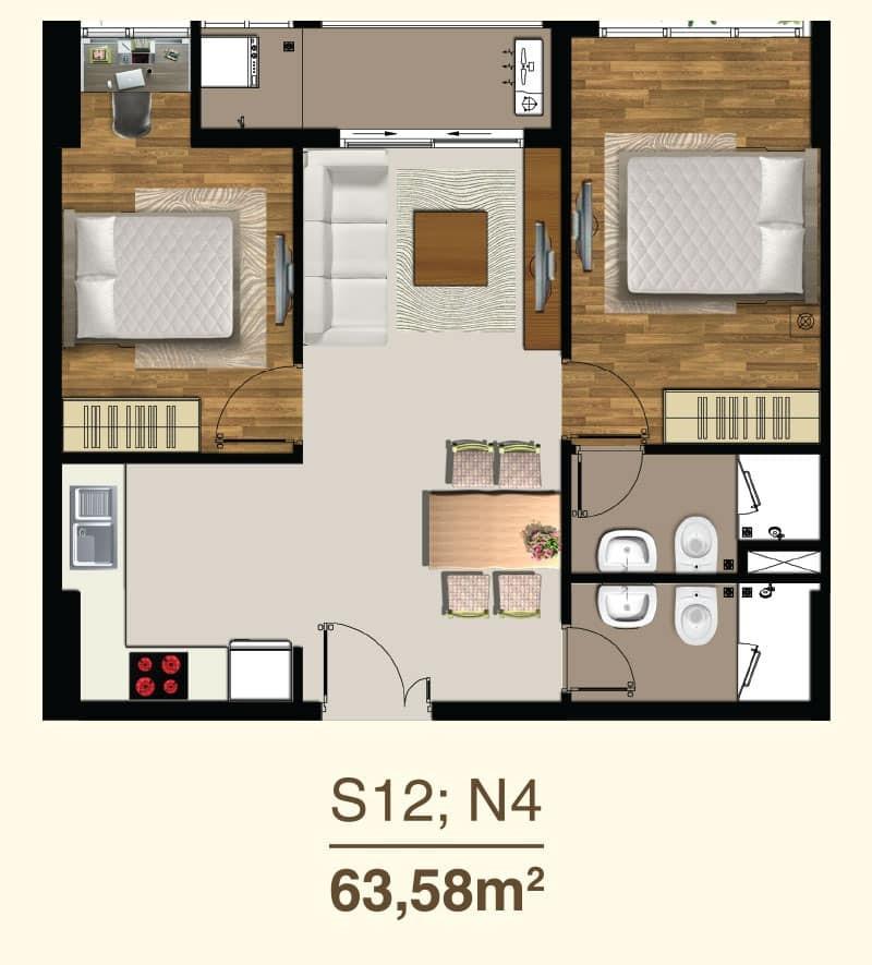 Thiết kế căn hộ 2 Phòng ngủ mã căn S12, N4